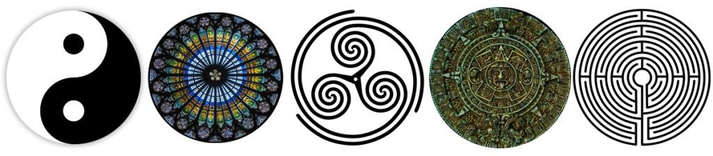 Mandalas - rose window, yin yang, celtic spiral, labyrinth, mayan calendar
