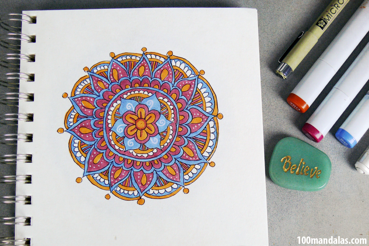 How to Draw and Color Mandalas StepbyStep Video Instructions on